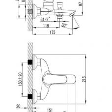 armal-start-armatura-za kad-krom-enorocna